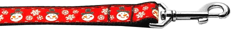 Red Snowman and Snowflakes dog leash winter