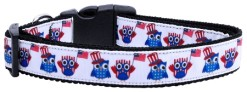 Red White and Blue American Owls Dog Collar