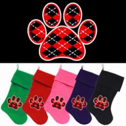 Red and Black argyle dog paw Christmas stocking