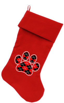 Red and Black argyle dog paw Christmas stocking red