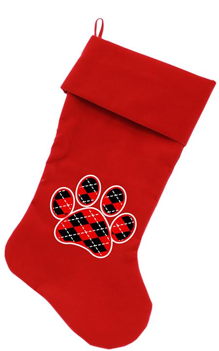 Red and Black Argyle Velvet Dog Stocking - PetImpulse.com