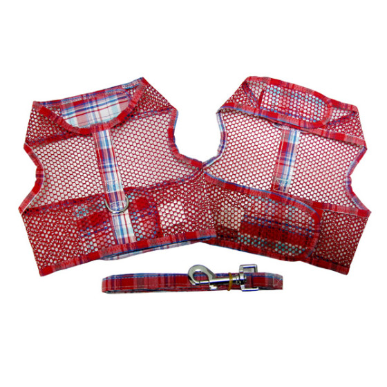 Red and Turquoise Plaid Dog Harness and Leash