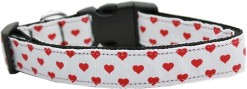 Red and White Dotty Hearts adjustable dog collar