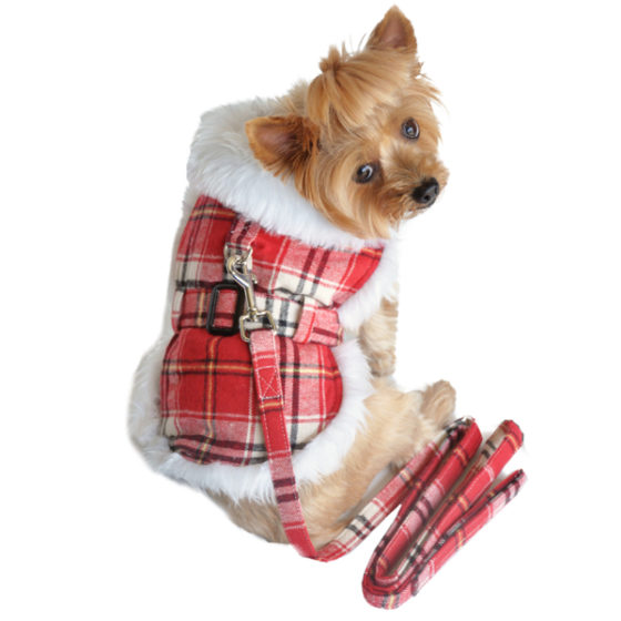 Red and White Plaid Faux Fur Dog Coat with Belt and Leash