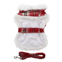 Red and White Plaid Faux Fur Dog Coat with Belt and Leash Back