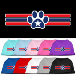 Red and blue stripes dog paw star patriotic Screenprint t-shirt sleeveless dog multi-colors