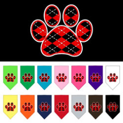 Red dog paw argyle bandana