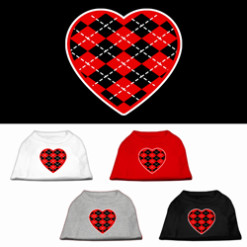 Red hearts argyle colors t-shirt novelty