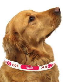 Reds MLB leather dog collar