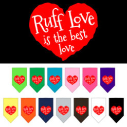 Ruff Love is the Best Love heart dog bandana