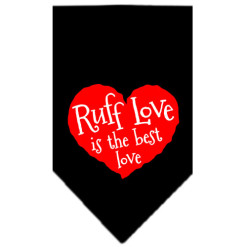 Ruff Love is the Best Love heart dog bandana black
