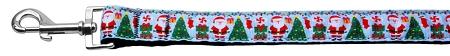 Santa Claus Aqua Dog Leash with Christmas Tree, Decorations and Presents