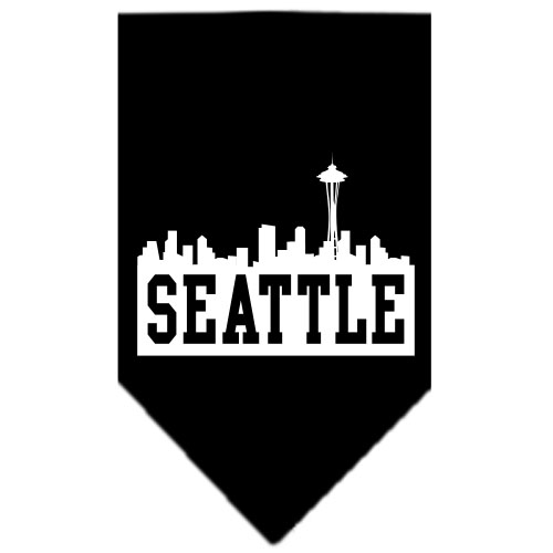 Seattle skyline dog bandana black