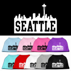 Seattle skyline silhouette Screenprint t-shirt sleeveless