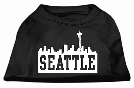 Seattle skyline silhouette screen print dog shirt for Seattle t shirt printing