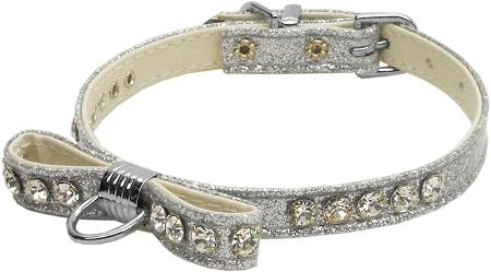 Silver Bow Dog Collar