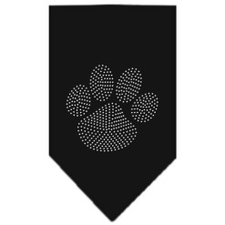 Silver Dog Paw rhinestone bandana black