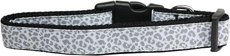 Silver leopard adjustable dog collar