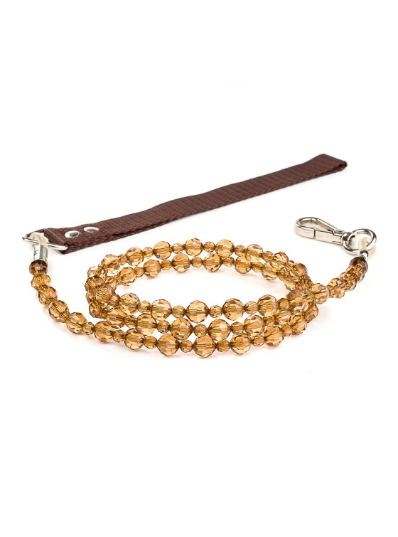 Smoke Topaz Fab Beaded Dog Leash