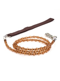 Smoke Topaz Jewel Beaded Dog Leash