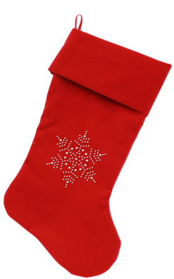 Snowflake Rhinestone embellished dog stocking red