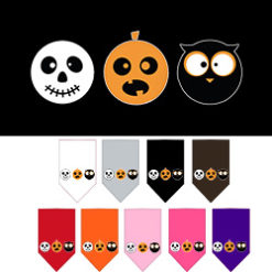 Spooky Trio Skull Pumpkin and Owl Screenprint Dog Bandanas