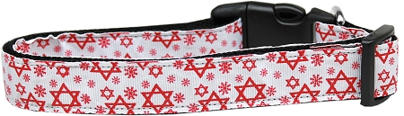Red Star of David adjustable dog collar
