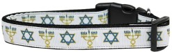 Star of David and Menorah Adjustable Dog Collar Jewish Tradition