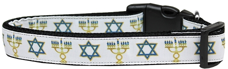 Star of David and Menorah Adjustable Dog Collar Jewish Tradition