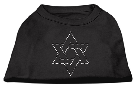 Star of David rhinestones dog t-shirt black
