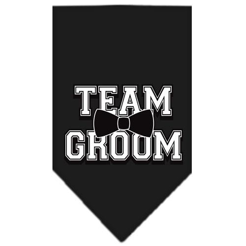 Team Groom bowtie dog bandana black