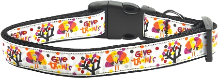 Thanksgiving Give Thanks Adjustable Dog Collar