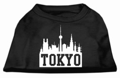Tokyo skyline silhouette screen print sleeveless shirt black