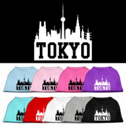 Tokyo skyline silhouette screen print sleeveless shirt colors