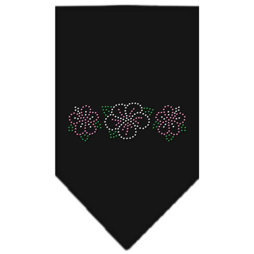 Tropical Flowers rhinestone dog bandana black