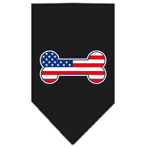 USA American Flag bone dog bandana black