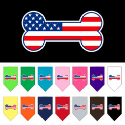 USA American Flag bone dog bandanas