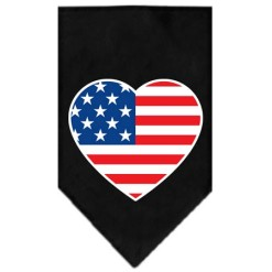 USA American Flag heart dog bandana black