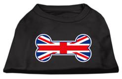 United Kindom Union Jack flag bone shape outline sleeveless dog t-shirt black