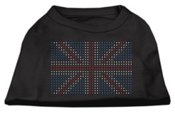 United Kingdom flag rhinestone sleeveless dog t-shirt black