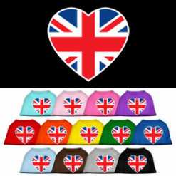 United Kingdom heart sleeveless dog t-shirt union jack flag multi colors
