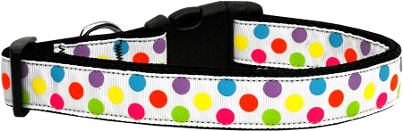 White and Colorful Polka Dot adjustable dog collar