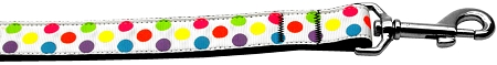 White and Colorful Polka Dot multi color dog leash