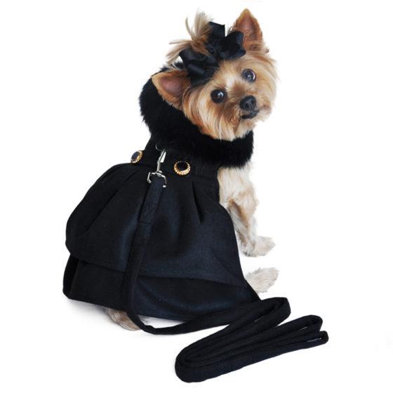 Wool Fur Trimmed Dog Harness Coat