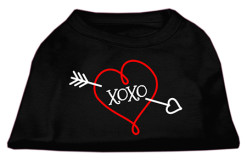 XOXO curly red heart screen print sleeveless dog t-shirt black