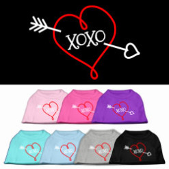 XOXO curly red heart screen print sleeveless dog t-shirt colors