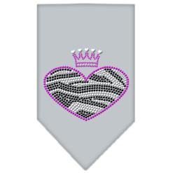 Zebra Heart rhinestone dog bandana gray
