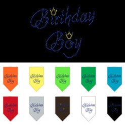 birthday boy crown rhinestone dog bandana colors