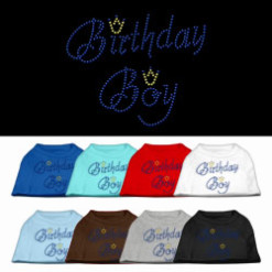 birthday boy crown rhinestone sleeveless dog t-shirt colors