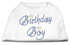 birthday boy crown rhinestone sleeveless dog t-shirt white